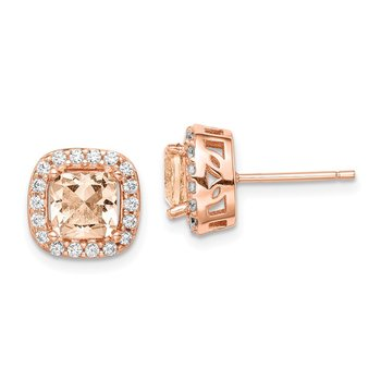 Sterling Silver Rose-tone Square Peach CZ Halo Post Earrings