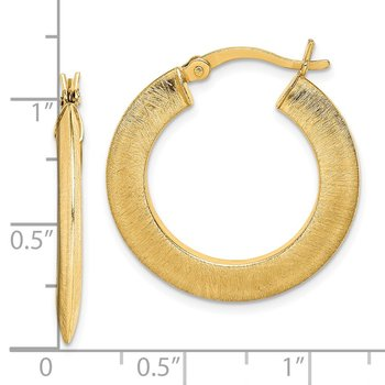 Sterling Silver Gold-tone Brushed 2.3x25mm Knife-edge Hoop Earrings