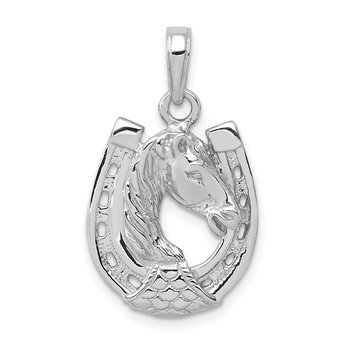 14k White Gold Solid Polished Horse Head in Horseshoe Pendant