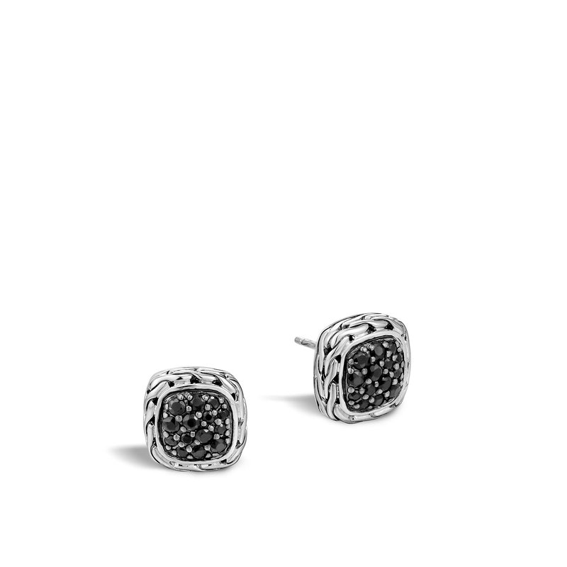 JOHN HARDY Classic Chain 12MM Stud Earring in Silver with Gemstone