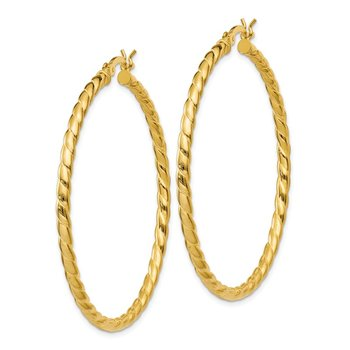 Sterling Silver Gold Flash Plated Twisted 3x45mm Hoop Earrings