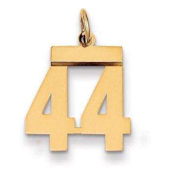 14k Small Polished Number 44 Charm