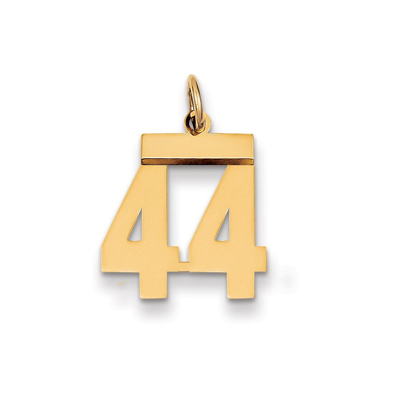 Quality Gold 14k Small Polished Number 44 Charm