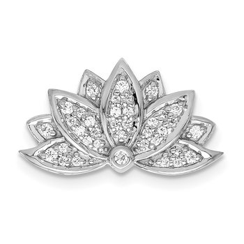 14k White Gold 1/5ct. Diamond Lotus Flower Chain Slide