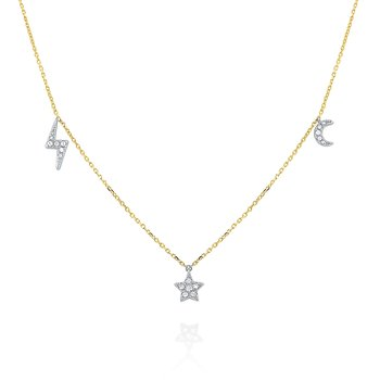 14k Gold and Diamond Moon, Star and Bolt Charm Necklace