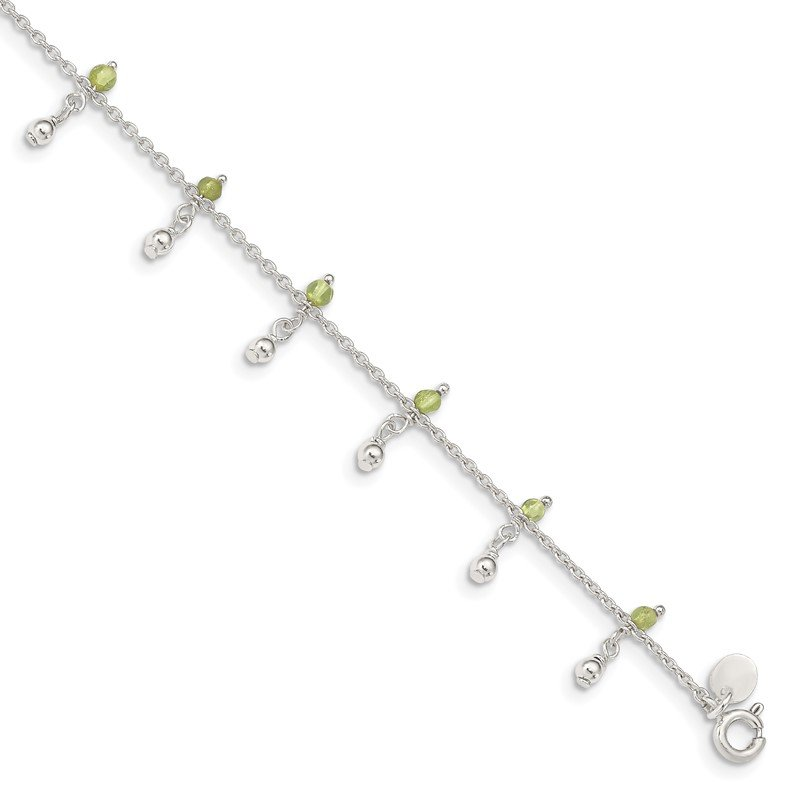 Quality Gold Sterling Silver Peridot Beads Anklet
