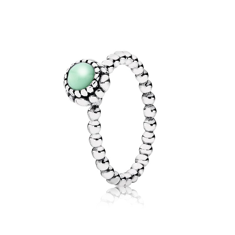 PANDORA Birthday Blooms Stackable Ring, May, Chrysoprase