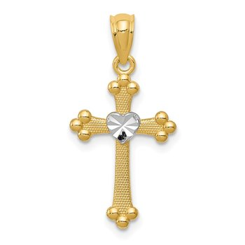 14k w/Rhodium Budded Cross Charm