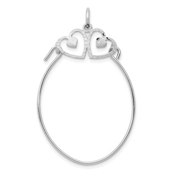10K White Gold Double Hearts On Top Charm Holder