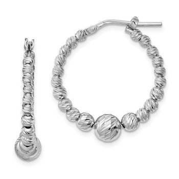 Sterling Silver Rhodium-plated Diamond-cut Beaded Hoop Earrings