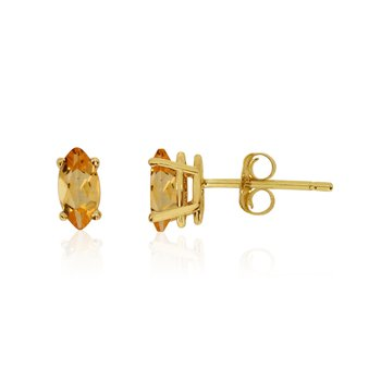 14k Yellow Gold Citrine Marquise Earrings