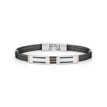 Black Cable Bracelet with Dual Steel Stations