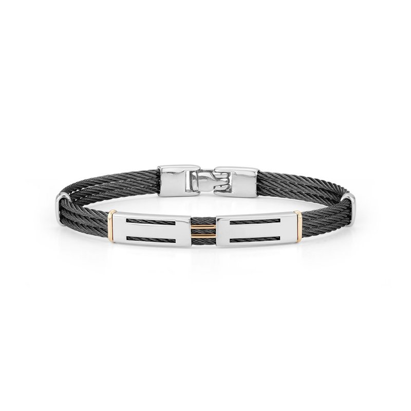 ALOR Black Cable Bracelet with Dual Steel Stations
