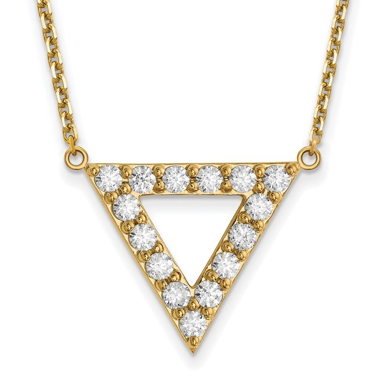 Quality Gold 14k AA Quality Diamond 20mm Triangle Necklace