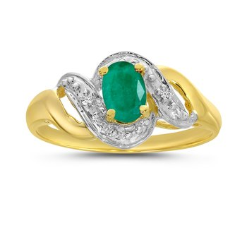 10k Yellow Gold Oval Emerald And Diamond Swirl Ring