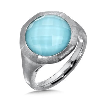 Sterling Silver White Quartz & Turquoise Fusion Ring