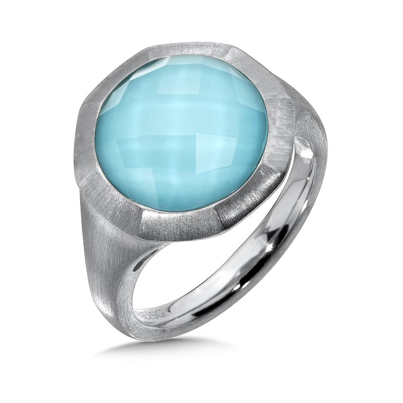 Colore Sg Sterling Silver White Quartz & Turquoise Fusion Ring