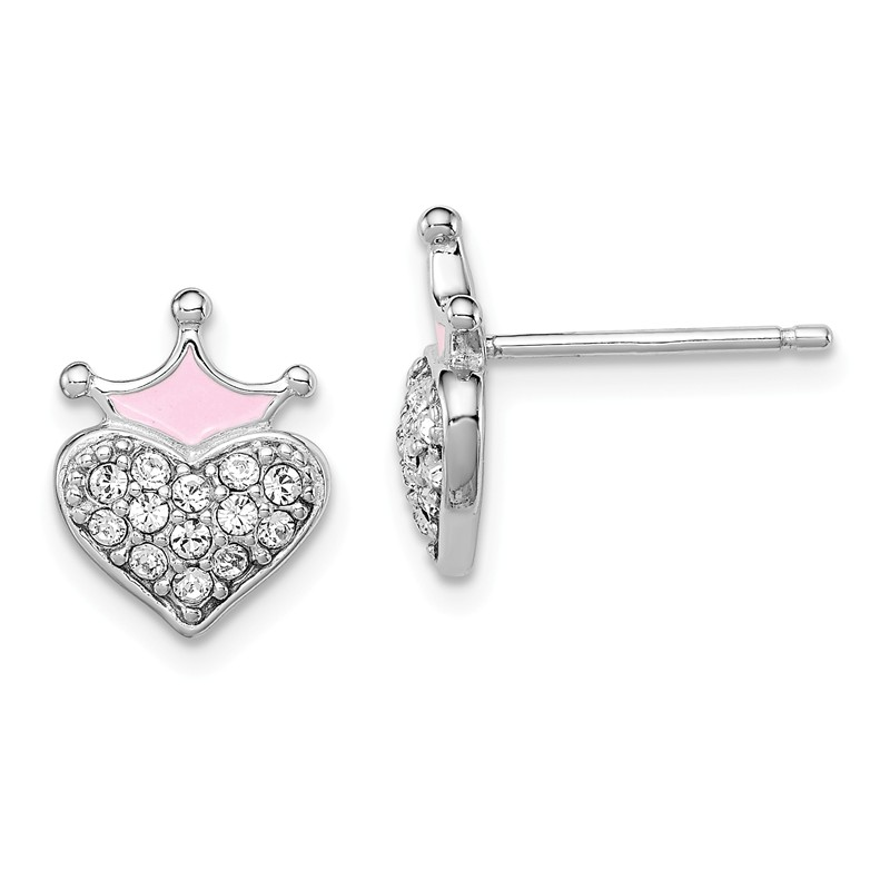 Sterling Silver Rhodium Plated Childs Preciosca Crystal Feb Heart Earrings