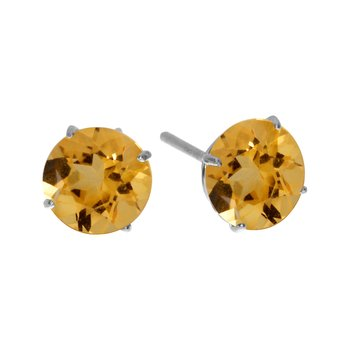6mm Round 14k White Gold Citrine Stud Earrings