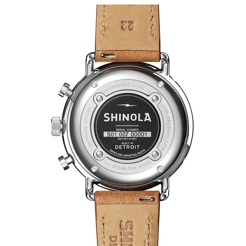 Shinola The Canfield Sport 45mm White Dial Leather Strap Watch