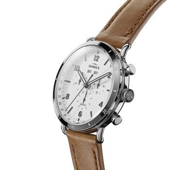 The Canfield Sport 45mm White Dial Leather Strap Watch