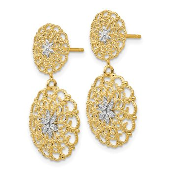 14K w/Rhodium D/C Filigree Medallion Drop Post Earrings