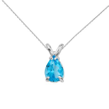 14k White Gold Pear Shaped Blue Topaz Pendant