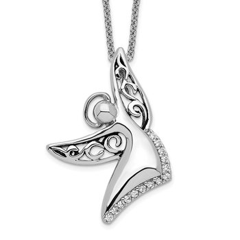 Sterling Silver CZ Antiqued Angel Of Joy 18in. Necklace
