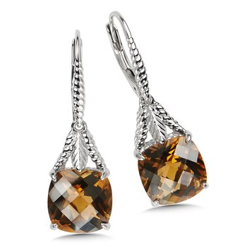 Sterling Silver Honey Citrine Leverback Earrings