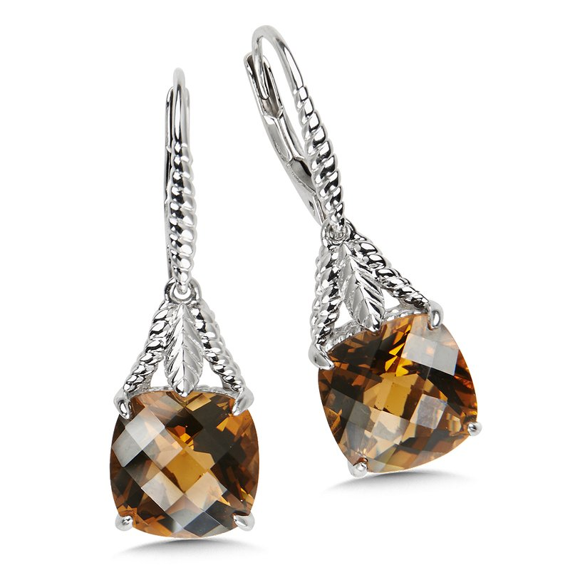 Colore Sg Sterling Silver Honey Citrine Leverback Earrings