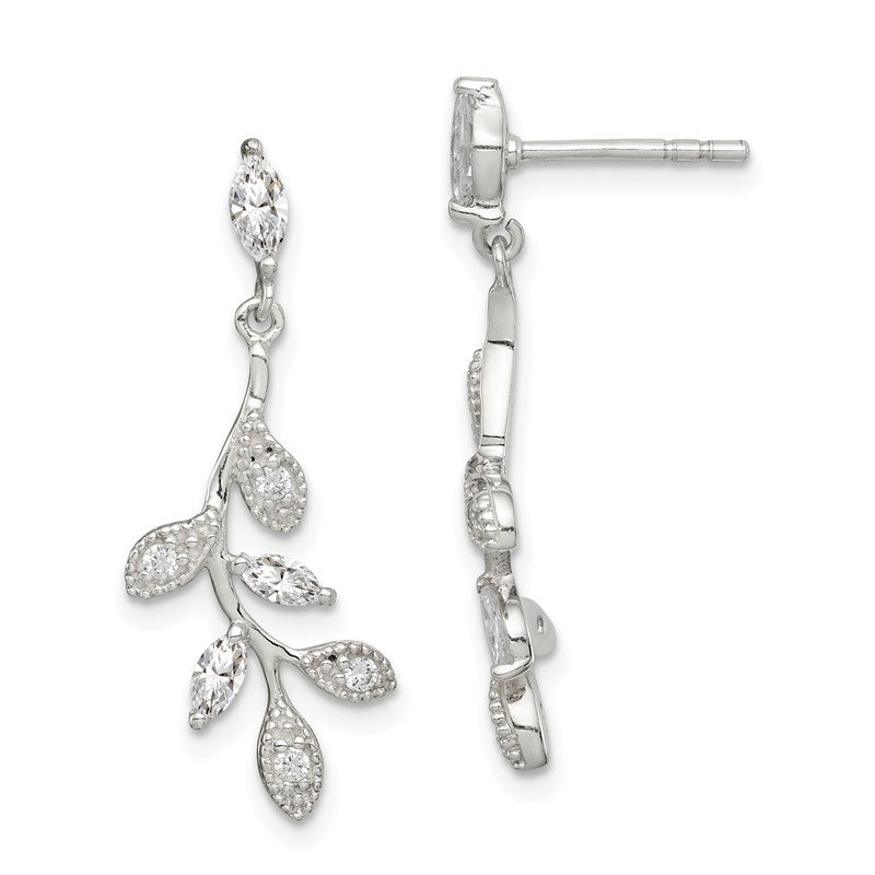 Quality Gold Sterling Silver CZ Branch and Leaves Dangle Earrings