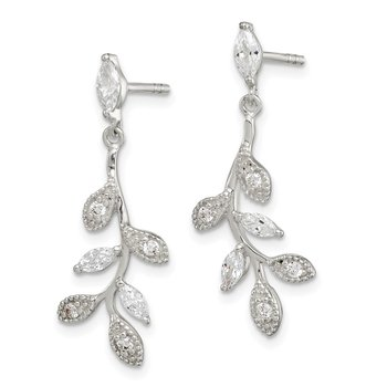 Sterling Silver CZ Branch and Leaves Dangle Earrings