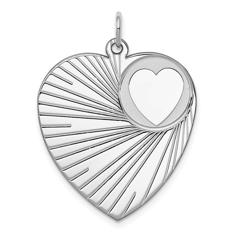 Quality Gold Sterling Silver Rhodium-plated Engraveable Heart Disc Charm