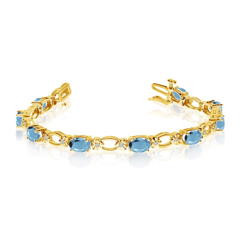 Color Merchants 14k Yellow Gold Natural Aquamarine And Diamond Tennis Bracelet