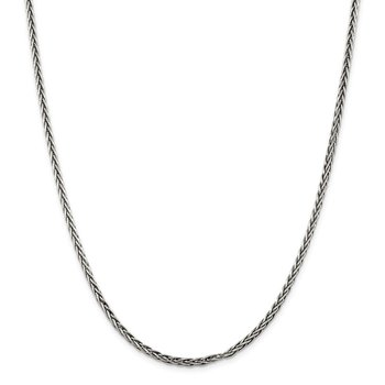 Sterling Silver Antiqued 3.25mm Solid Square Spiga Chain