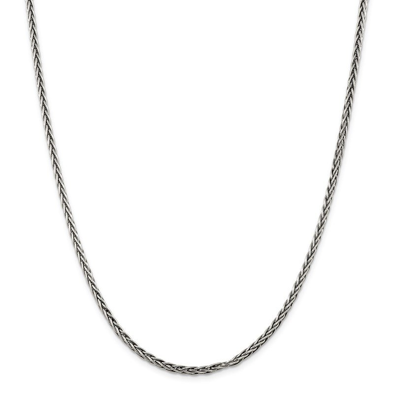 Quality Gold Sterling Silver Antiqued 3.25mm Solid Square Spiga Chain