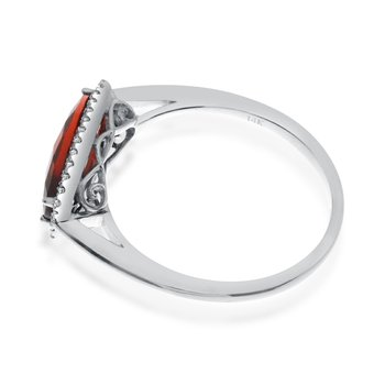 14K White Gold Elongated Baguette Garnet and Diamond Ring