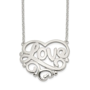 Sterling Silver Polished Heart Love w/ 1 inch ext Necklace