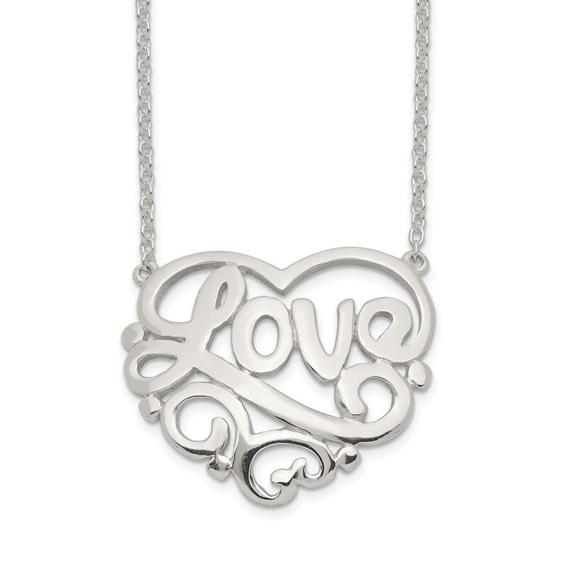 Quality Gold Sterling Silver Polished Heart Love w/ 1 inch ext Necklace