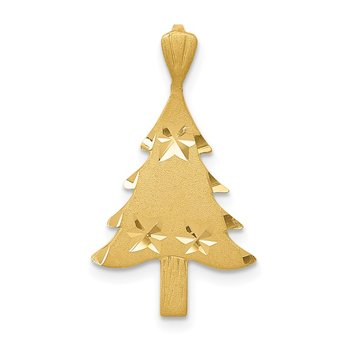 14k Diamond-cut Christmas Tree Charm
