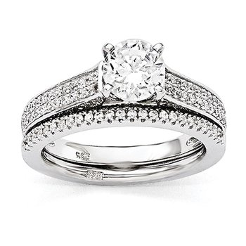 SS Rhodium-Plated CZ Brilliant Embers 2-piece Wedding Set