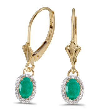 10k Yellow Gold Oval Emerald And Diamond Leverback Earrings