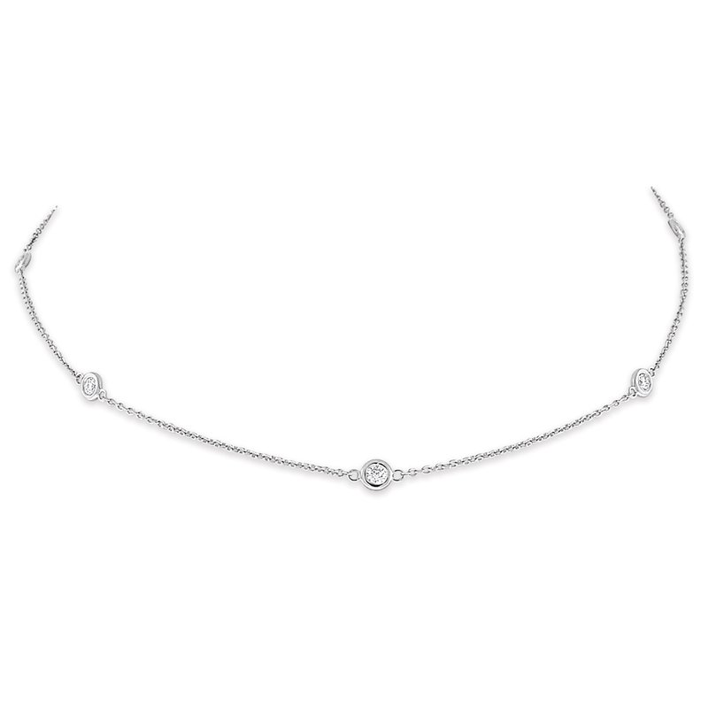 MAZZARESE Fashion Diamond By The Yard Necklace in 14K White Gold with 10 Diamonds Weighing  .30ct tw