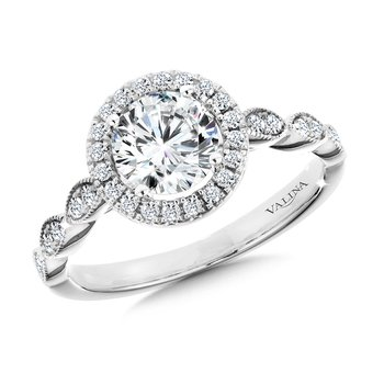 Scalloped & Milgrain-Beaded Round Halo Engagement Ring