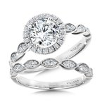 Valina Scalloped & Milgrain-Beaded Round Halo Engagement Ring