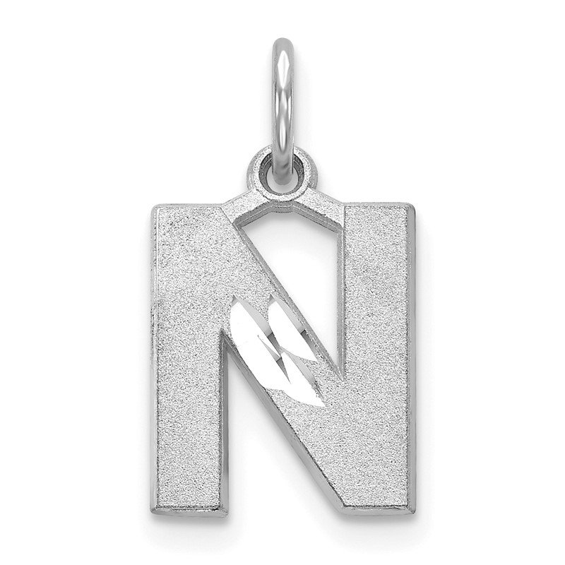 Quality Gold 14KW Satin Diamond-cut Letter N Initial Charm