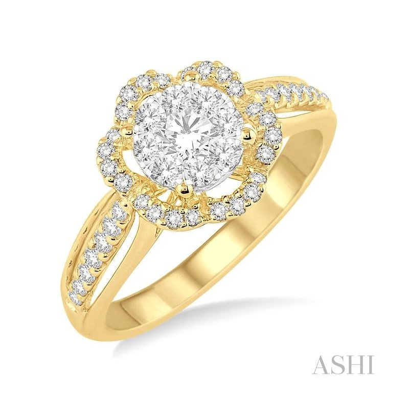 ASHI flower shape lovebright bridal diamond engagement ring