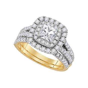 14kt Yellow Gold Womens Princess Diamond Solitaire Bridal Wedding Engagement Ring Band Set 7/8 Cttw