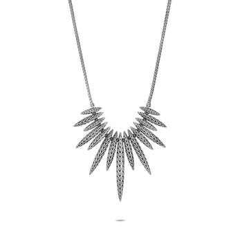 Classic Chain Spear Bib Necklace in Silver