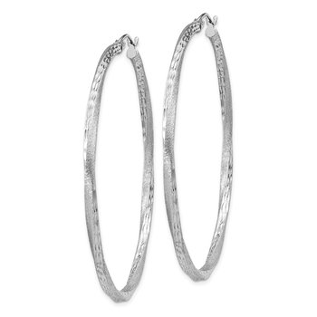 Sterling Silver RH-plated Satin Diamond-cut 2.5x55mm Twisted Hoop Earrings